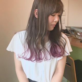 ベリーピンク ピンク ロング ストリート ヘアスタイルや髪型の写真・画像