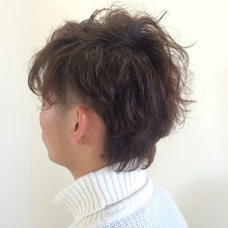 パーマ ナチュラル ショート 暗髪 ヘアスタイルや髪型の写真・画像 ヘアスタイルや髪型の写真・画像