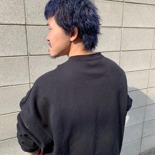 ブルー ストリート メンズヘア ネイビーブルー ヘアスタイルや髪型の写真・画像