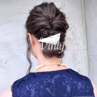 ヘアアレンジ 結婚式 透明感 セミロング ヘアスタイルや髪型の写真・画像