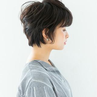 女子力 黒髪 ショート ナチュラル ヘアスタイルや髪型の写真・画像