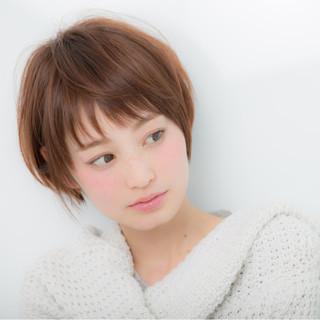 ショート 前髪あり 小顔 大人女子 ヘアスタイルや髪型の写真・画像