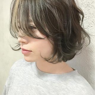 ナチュラル ハイライト ニュアンス ボブ ヘアスタイルや髪型の写真・画像