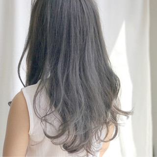 アッシュ アッシュグレージュ 黒髪 ロング ヘアスタイルや髪型の写真・画像 ヘアスタイルや髪型の写真・画像
