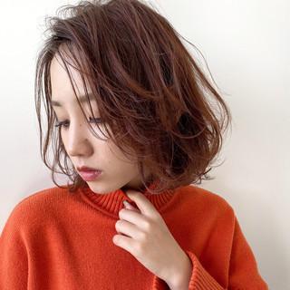 オレンジブラウン ブランジュ ミディアム 大人ヘアスタイル ヘアスタイルや髪型の写真・画像
