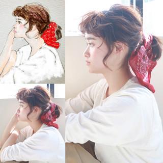 前髪パーマ 無造作 ボブ 簡単ヘアアレンジ ヘアスタイルや髪型の写真・画像