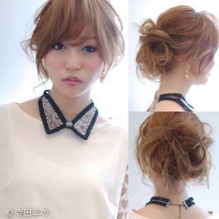 卵型 ゆるふわ ヘアアレンジ セミロング ヘアスタイルや髪型の写真・画像