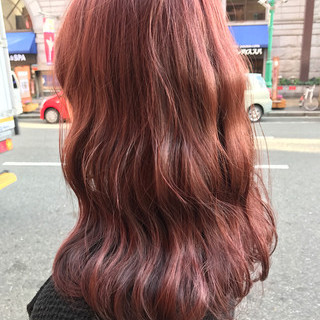 セミロング ガーリー ピンク レッド ヘアスタイルや髪型の写真・画像
