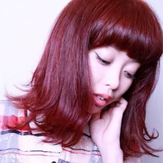 ピンク ストリート レッド ガーリー ヘアスタイルや髪型の写真・画像