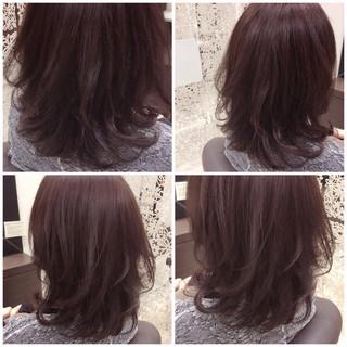 春 レイヤーカット ピンクアッシュ ミディアム ヘアスタイルや髪型の写真・画像