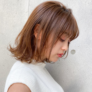 色気 大人かわいい レイヤーカット ミディアム ヘアスタイルや髪型の写真・画像