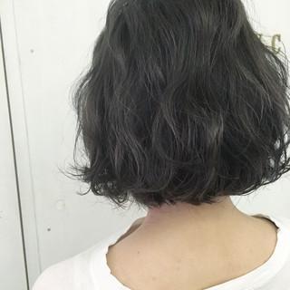 ボブ ブルー モード グレージュ ヘアスタイルや髪型の写真・画像