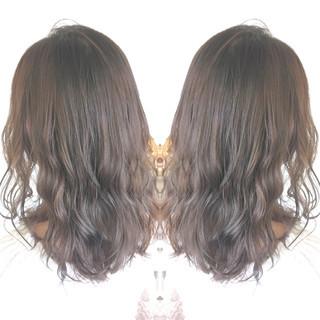 外国人風カラー セミロング フェミニン かわいい ヘアスタイルや髪型の写真・画像