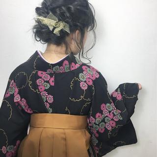 学校 袴 フェミニン ヘアアレンジ ヘアスタイルや髪型の写真・画像