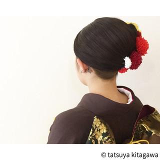 袴 黒髪 成人式 夜会巻 ヘアスタイルや髪型の写真・画像