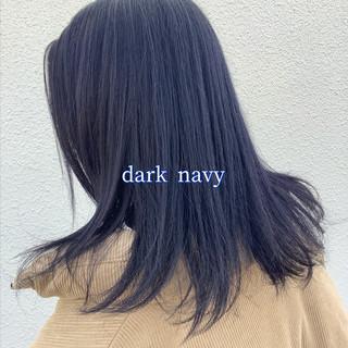 ナチュラル可愛い ネイビー ヘアカラー ブルーラベンダー ヘアスタイルや髪型の写真・画像