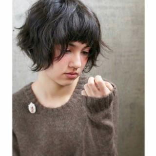 パーマ ショート 簡単 暗髪 ヘアスタイルや髪型の写真・画像