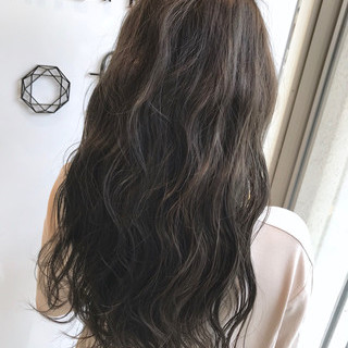 ブルー セミロング 外国人風カラー ハイライト ヘアスタイルや髪型の写真・画像