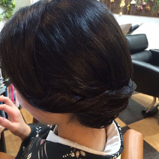 黒髪 ボブ 着物 まとめ髪 ヘアスタイルや髪型の写真・画像 ヘアスタイルや髪型の写真・画像
