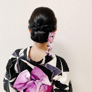 ヘアアレンジ デート エレガント 黒髪 ヘアスタイルや髪型の写真・画像