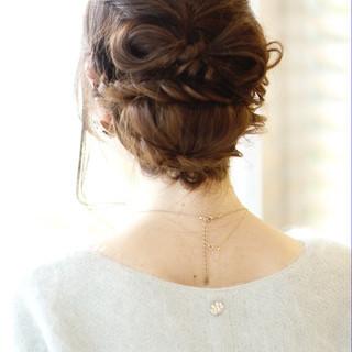 まとめ髪 ショート 編み込み 簡単ヘアアレンジ ヘアスタイルや髪型の写真・画像