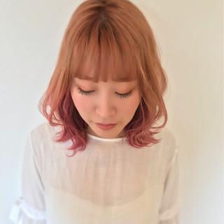 外国人風 透明感 ハイライト ミディアム ヘアスタイルや髪型の写真・画像