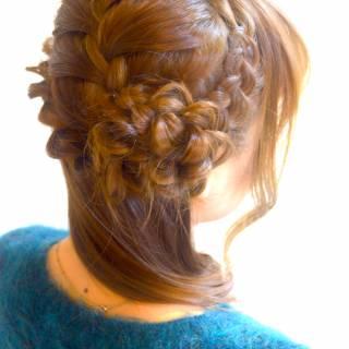 結婚式 ヘアアレンジ コンサバ 編み込み ヘアスタイルや髪型の写真・画像
