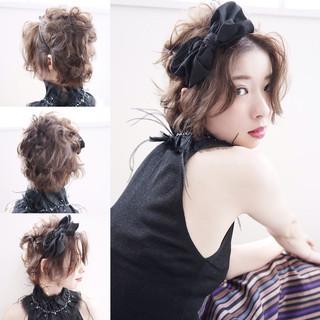 ショート 大人女子 ヘアアレンジ フェミニン ヘアスタイルや髪型の写真・画像