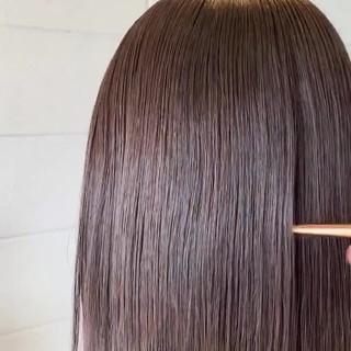 美髪矯正 縮毛矯正 黒髪 ストレート ヘアスタイルや髪型の写真・画像