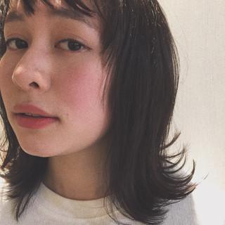黒髪 ナチュラル 前髪あり ウェットヘア ヘアスタイルや髪型の写真・画像