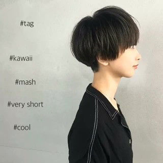 オルチャン モード ショート マッシュ ヘアスタイルや髪型の写真・画像