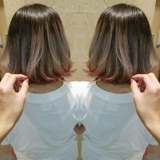 グラデーションカラー ガーリー 外ハネ ボブ ヘアスタイルや髪型の写真・画像