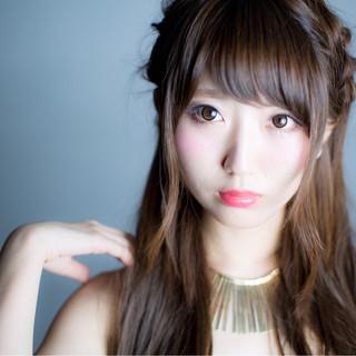 ロング ヘアアレンジ ピュア ハーフアップ ヘアスタイルや髪型の写真・画像