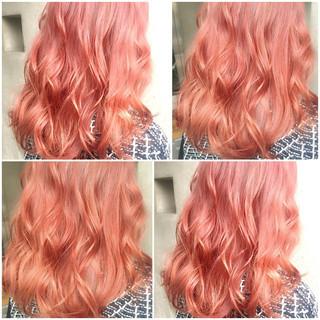 ゆるふわ セミロング グラデーションカラー フェミニン ヘアスタイルや髪型の写真・画像