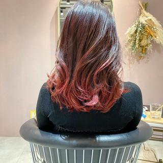 赤髪 ガーリー グラデーションカラー セミロング ヘアスタイルや髪型の写真・画像