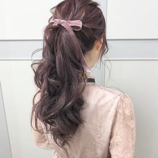 ポニーテール ガーリー ロング ヘアアレンジ ヘアスタイルや髪型の写真・画像