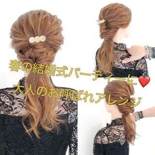 結婚式 フェミニン 結婚式ヘアアレンジ ロング ヘアスタイルや髪型の写真・画像 ヘアスタイルや髪型の写真・画像