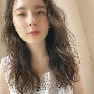 ガーリー デート セミロング 大人かわいい ヘアスタイルや髪型の写真・画像