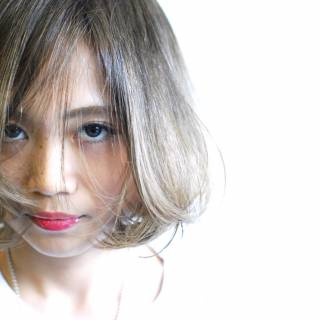 グラデーションカラー ウェットヘア ストリート ショート ヘアスタイルや髪型の写真・画像