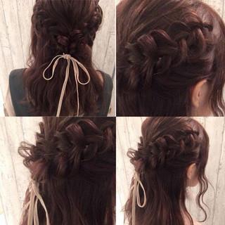 ガーリー ベリーピンク ロング 編み込み ヘアスタイルや髪型の写真・画像