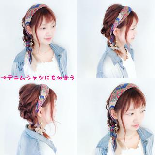 ルーズ ヘアアレンジ デート 編み込み ヘアスタイルや髪型の写真・画像