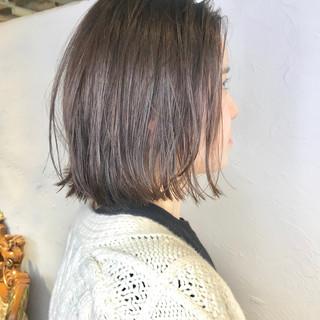 ボブ ミルクティーベージュ ガーリー ヌーディーベージュ ヘアスタイルや髪型の写真・画像