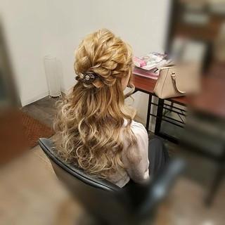 フェミニン ロング ハーフアップ ヘアアレンジ ヘアスタイルや髪型の写真・画像