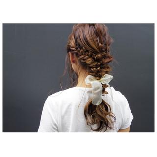 ハイライト ヘアアレンジ 簡単ヘアアレンジ ロング ヘアスタイルや髪型の写真・画像