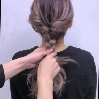 ガーリー ロング 簡単ヘアアレンジ 編みおろし ヘアスタイルや髪型の写真・画像