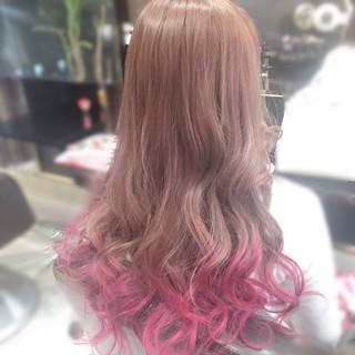 ガーリー 個性的 ピンク ロング ヘアスタイルや髪型の写真・画像