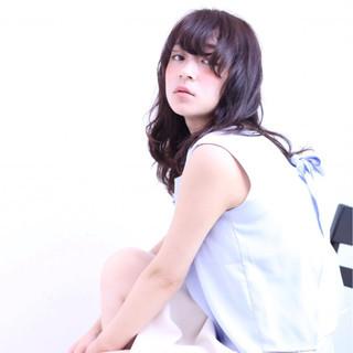 セミロング 色気 暗髪 ピュア ヘアスタイルや髪型の写真・画像