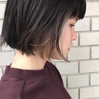 ストリート ウェットヘア ボブ インナーカラー ヘアスタイルや髪型の写真・画像