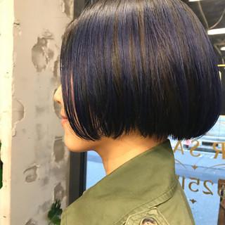 ブルー ネイビー ストリート ブリーチ ヘアスタイルや髪型の写真・画像