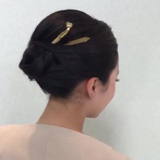 結婚式 エレガント デート 黒髪 ヘアスタイルや髪型の写真・画像